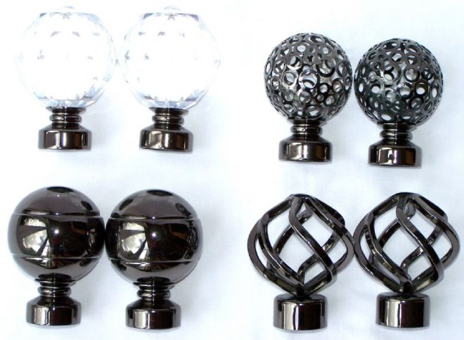 35mm Graphite Black Metal Curtain Pole Finials Twisted Cage Circle Crystal Ball+